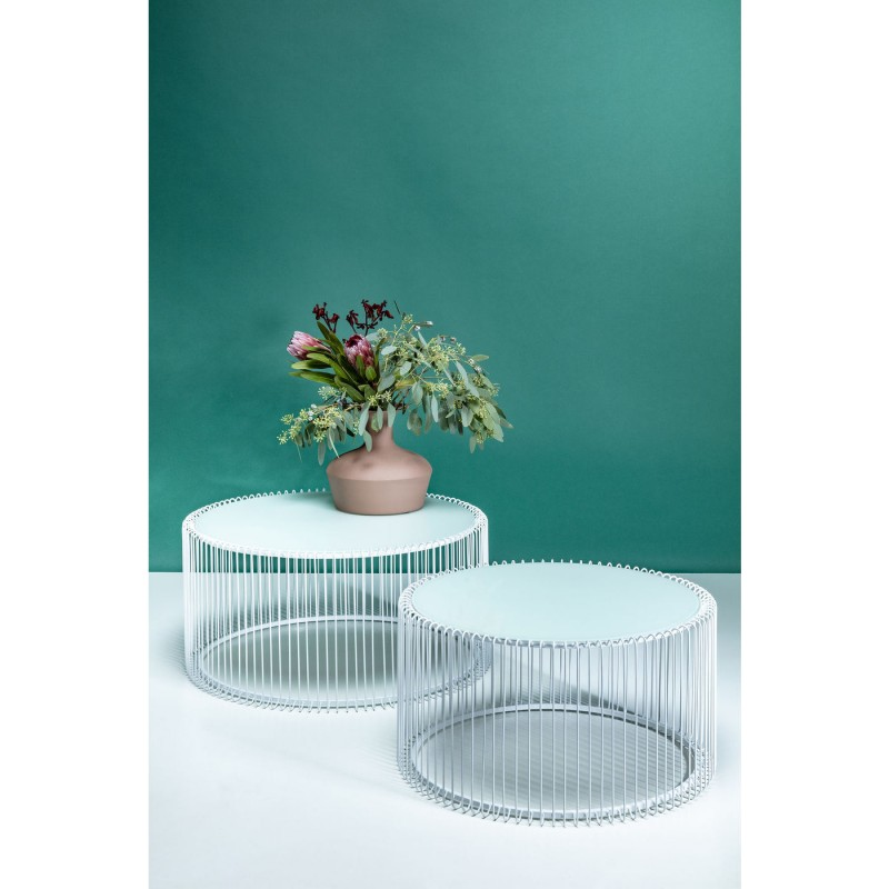 Tables basses rondes Wire blanches set de 2 Kare Design