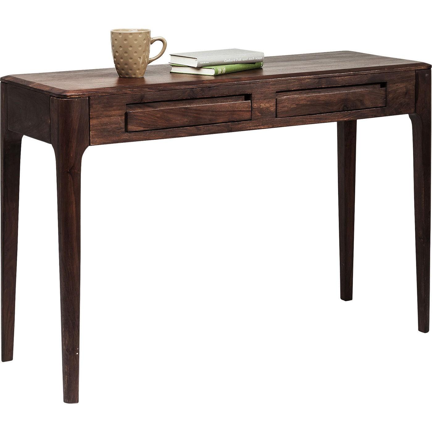 Console/bureau Brooklyn walnut 2 tiroirs 110x40cm Kare Design