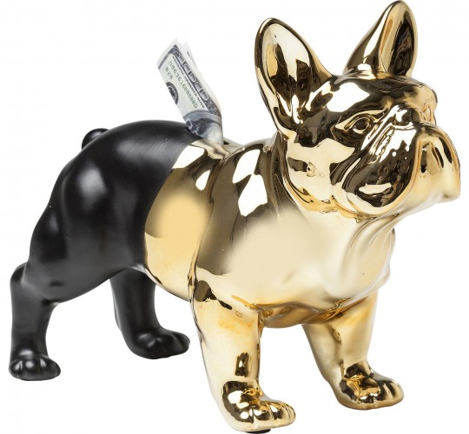 Tirelire Bulldog dorée Kare Design