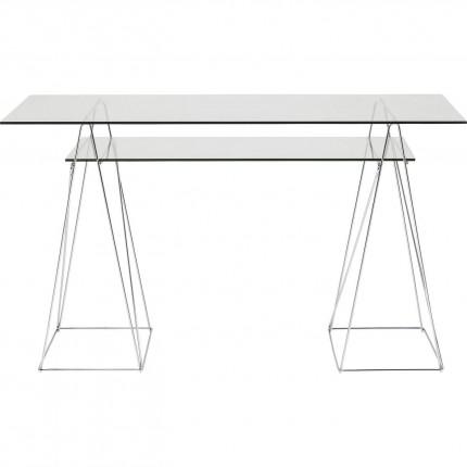 Bureau en verre Polar 135x65cm chromé Kare Design