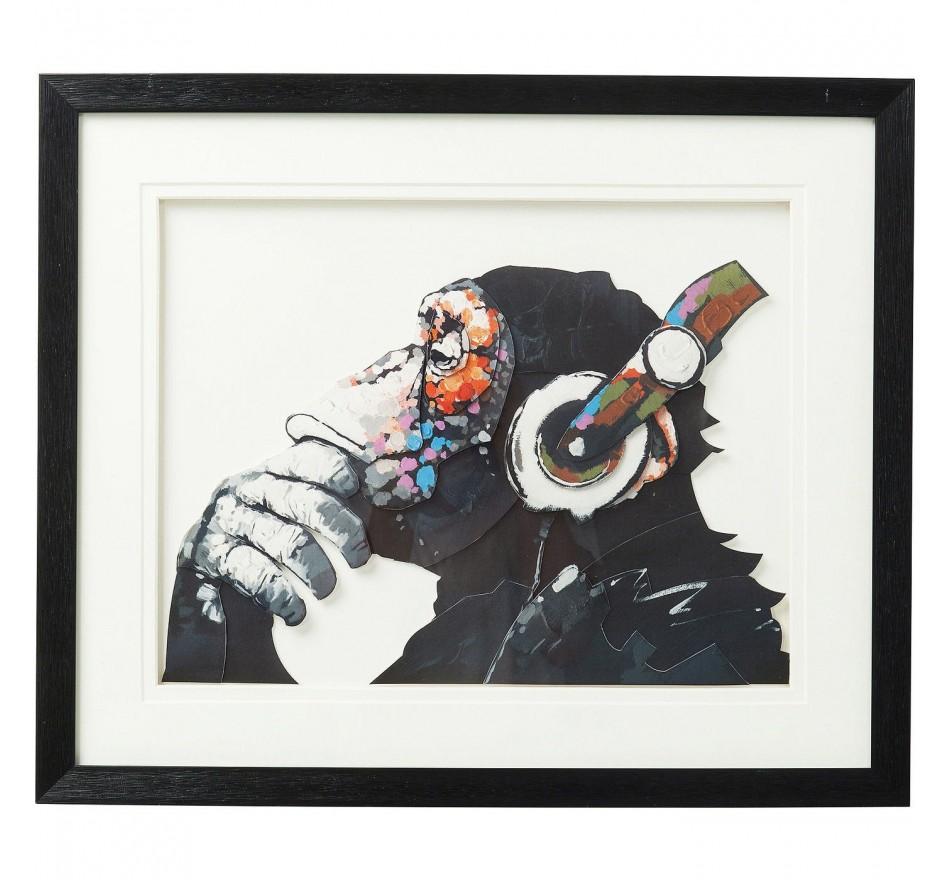 Tableau Frame Art singe musique 60x50cm Kare Design