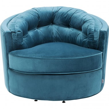 Fauteuil Music Hall velours bleu Kare Design