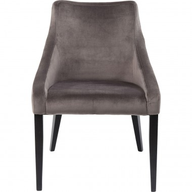 Chaise Mode pieds noirs velours gris Kare Design