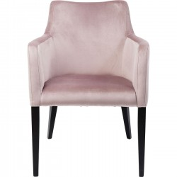 Chaise avec accoudoirs Mode pieds noirs velours rose Kare Design