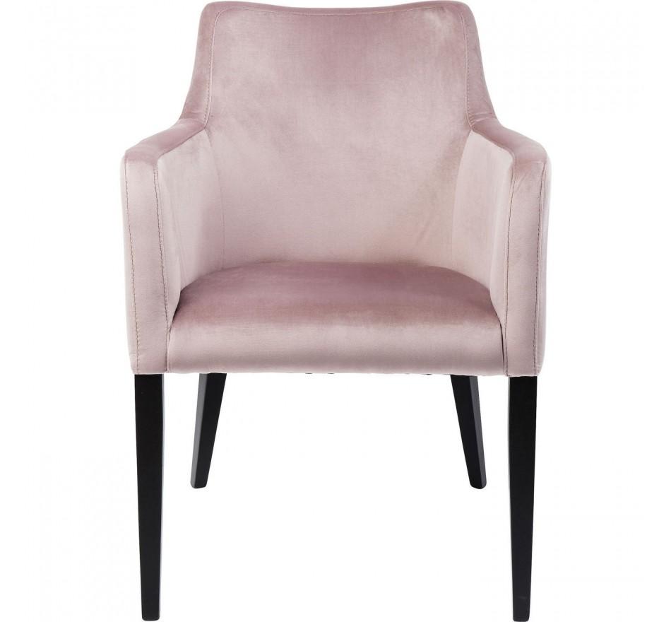 Chaise avec accoudoirs Mode Velvet noir/rose Kare Design