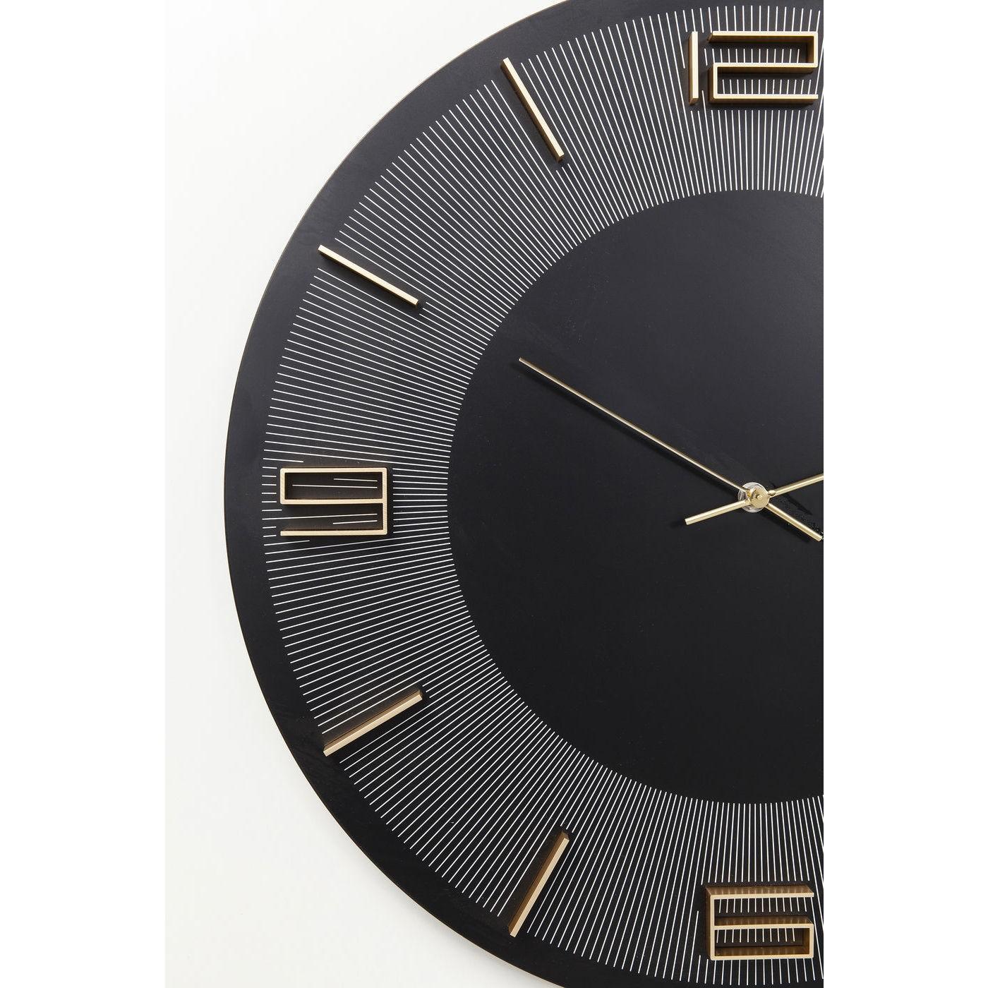 Horloge murale Leonardo noire et dorée Kare Design