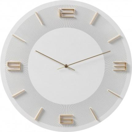Horloge murale Leonardo blanche et dorée Kare Design