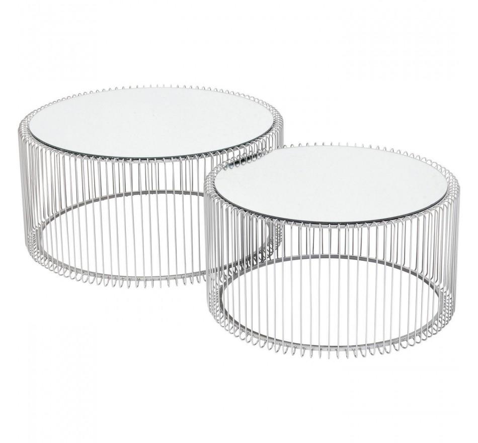 Tables basses rondes Wire argentées set de 2 Kare Design