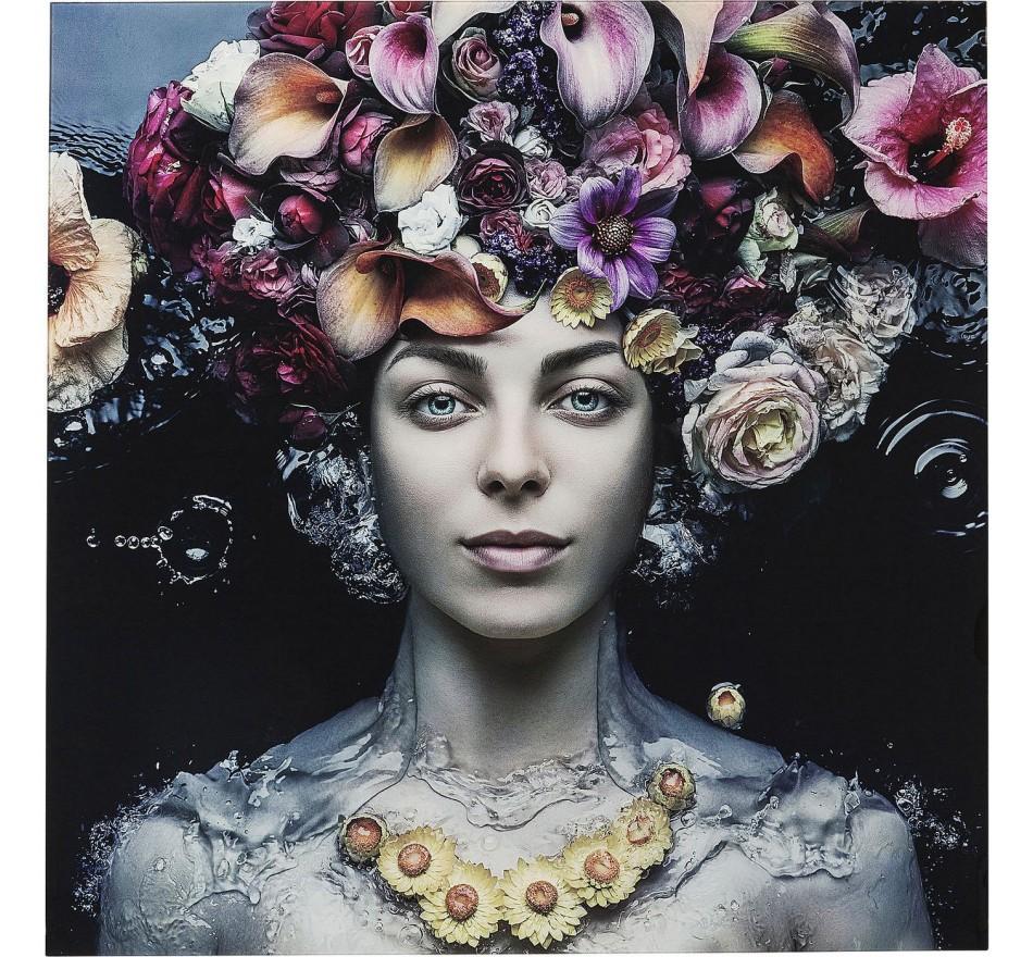 Tableau en verre Flower Art Lady 120x120cm Kare Design