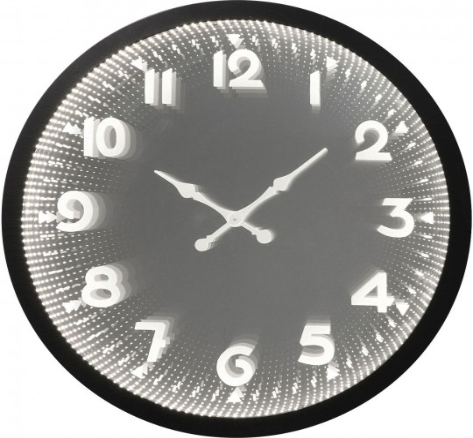 Horloge Murale Noire Led Solo Kare Design