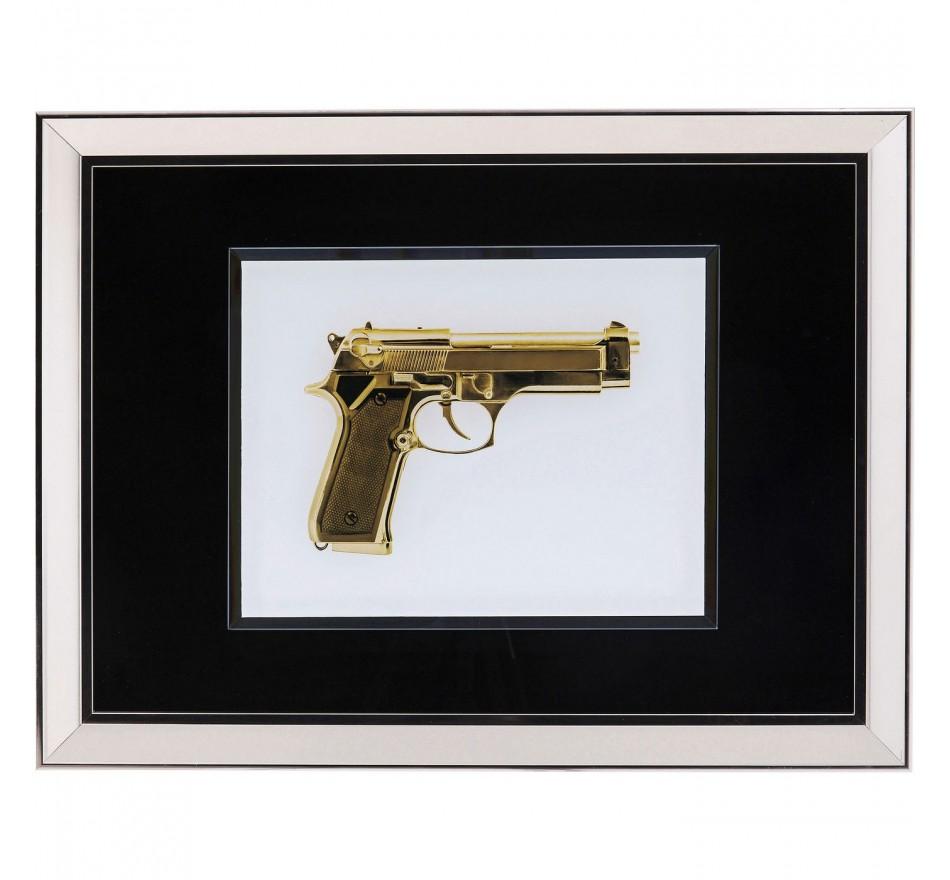 Tableau  Frame Mirror Gun doré 80x60cm