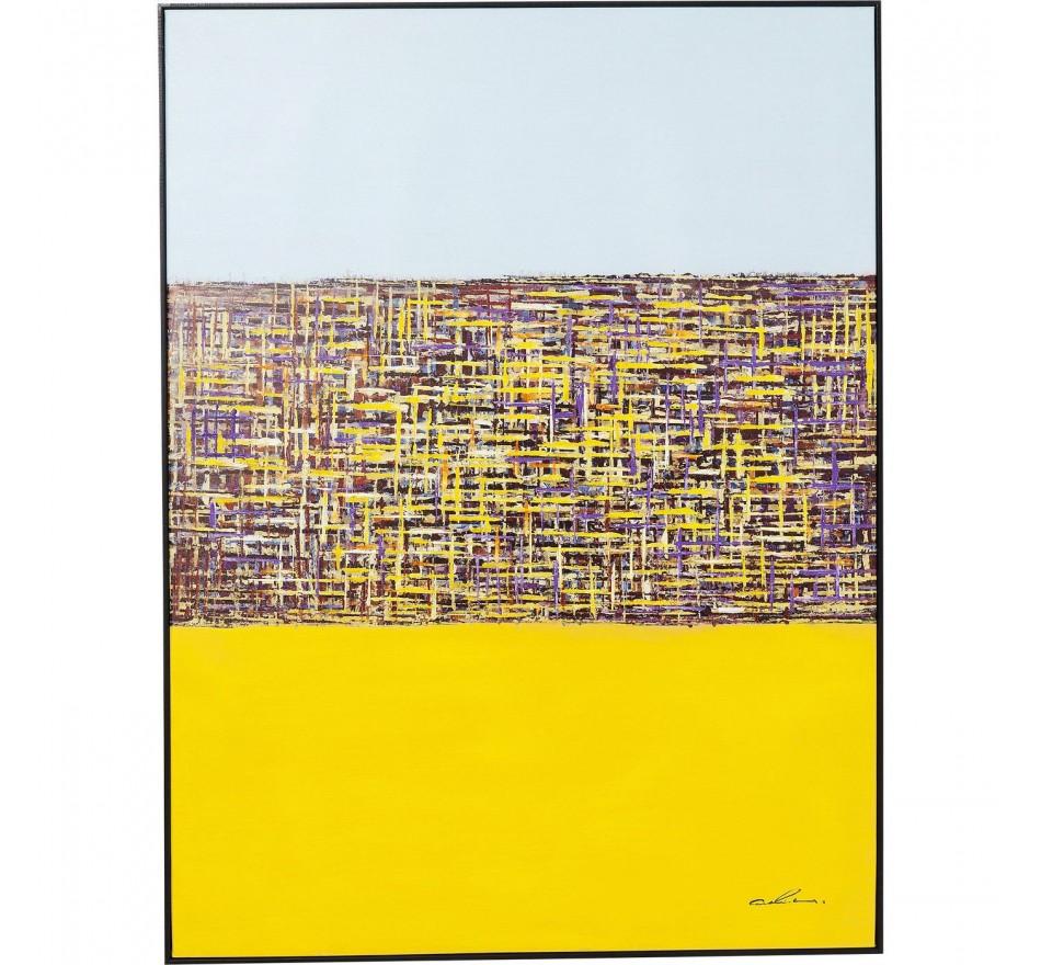 Tableau Touched Meander jaunee 122x92cm Kare Design