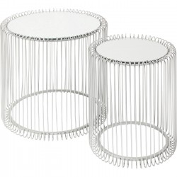 Tables d'appoint Wire argentées set de 2 Kare Design