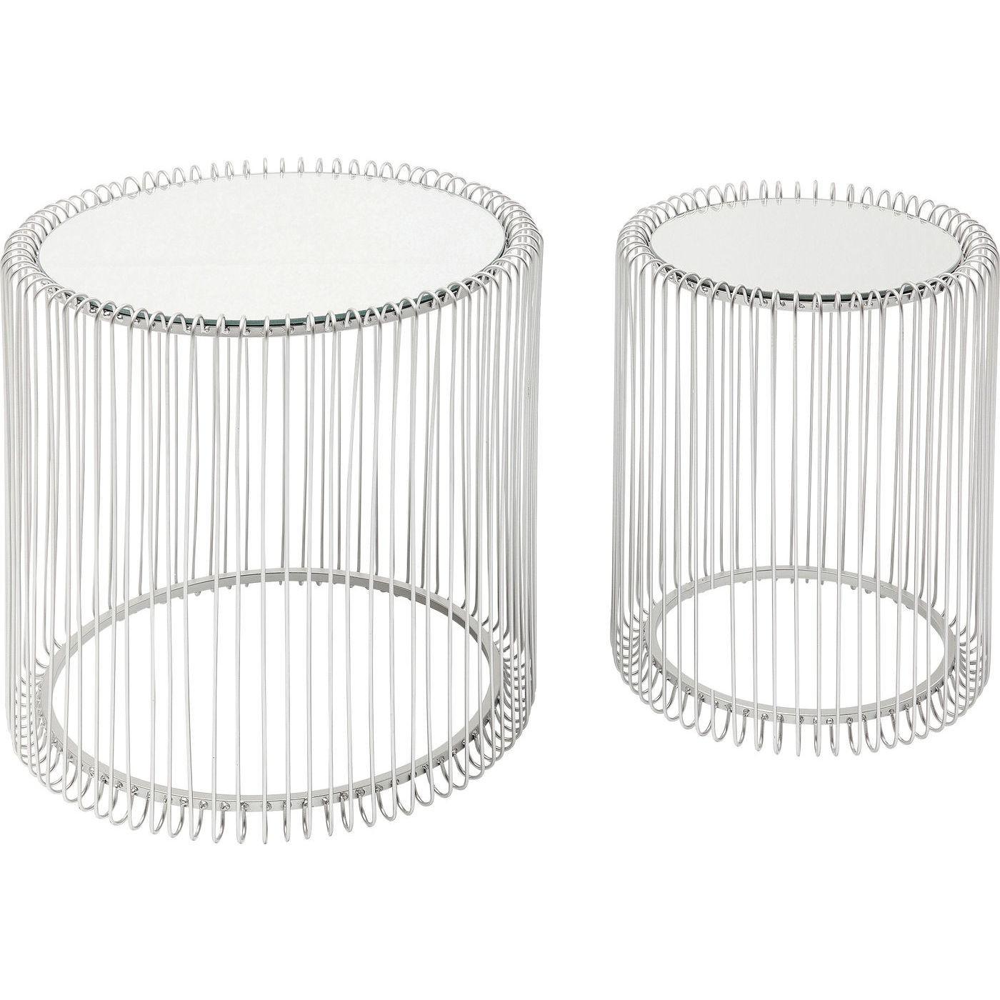 Tables d'appoint rondes Wire argentées set de 2 Kare Design