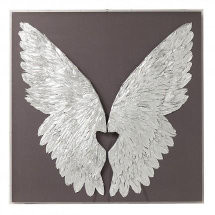 Tableau 3D ailes argentées et grises 120x120cm Kare Design