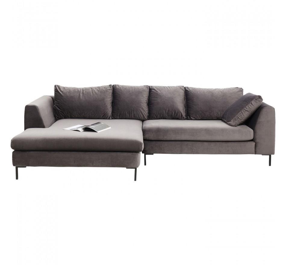 Canapé d'angle Gianna Velvet gauche gris Kare Design