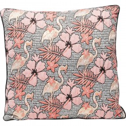 Coussin flamants roses hibiscus 45x45cm Kare Design