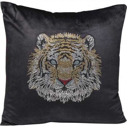 Coussin noir tête de tigre strass 45x45cm Kare Design