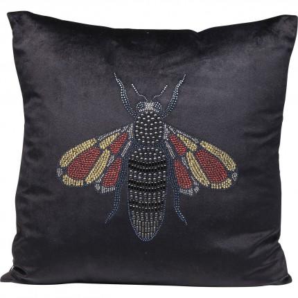 Coussin noir abeille strass 45x45cm Kare Design