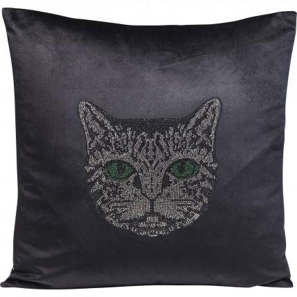 Coussin noir tête de chat 45x45cm Kare Design