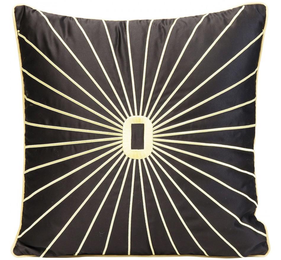 Coussin noir rayons dorés 45x45cm Kare Design