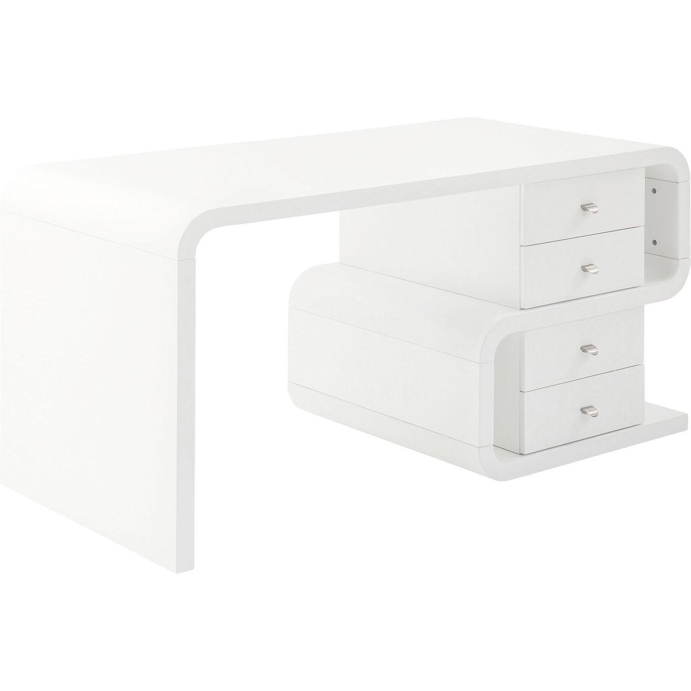 Bureau Snake blanc 4 tiroirs 150x70cm Kare Design