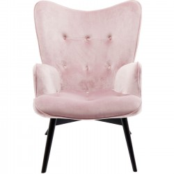 Fauteuil Vicky velours rose Kare Design