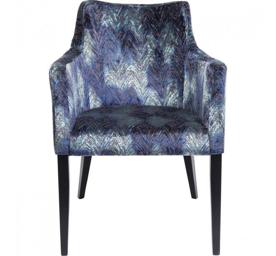 Chaise avec accoudoirs Mode velours chevrons bleus Kare Design