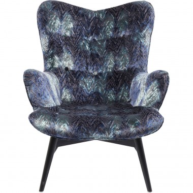 Fauteuil Angels Wings velours chevrons bleu Kare Design