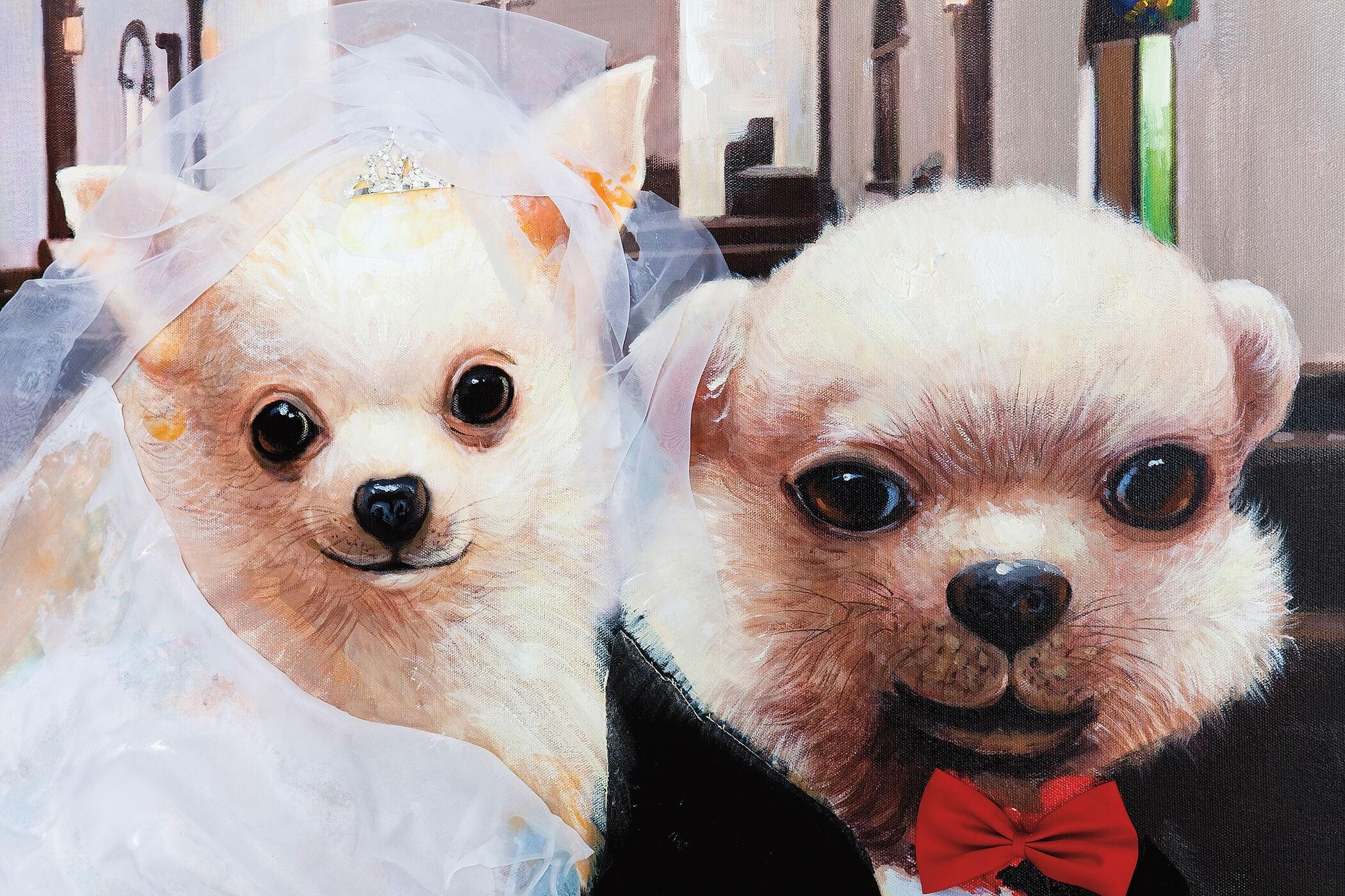 Tableau Wedding Dogs 80x100cm Kare Design