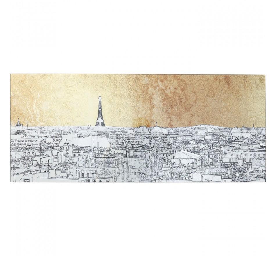 Tableau en verre croquis Paris 50x120cm Kare Design