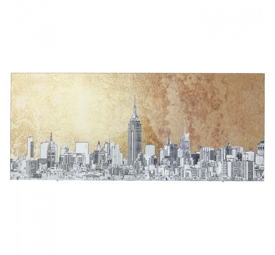 Tableau en verre croquis New York 50x120cm Kare Design