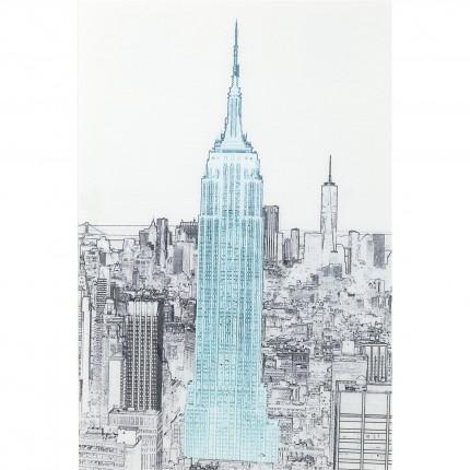 Tableau en verre croquis Empire State Building 120x80cm Kare Design