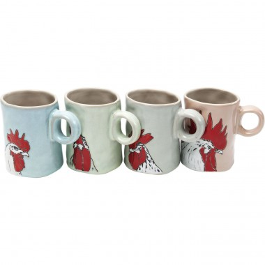 Mugs coqs set de 4 Kare Design