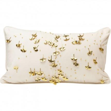 Coussin beige feuilles de gingko 28x50cm Kare Design