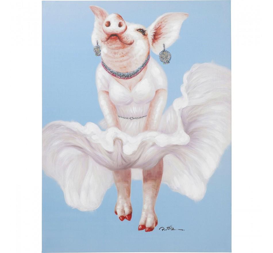 Tableau Touched cochon diva 120x90cm Kare Design