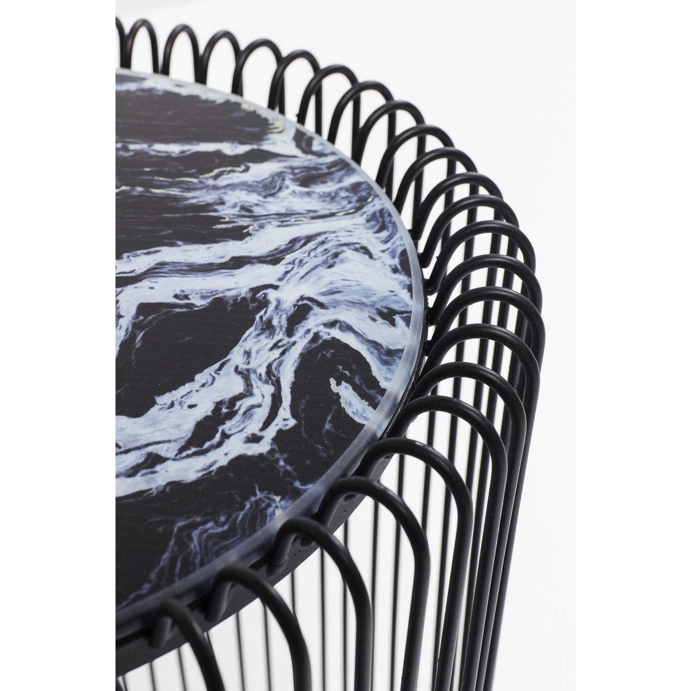 Tables d'appoint rondes Wire noires marbre set de 2 Kare Design