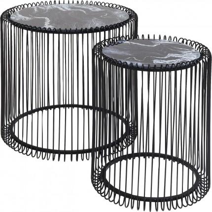 Tables d'appoint Wire marbre noir set de 2 Kare Design