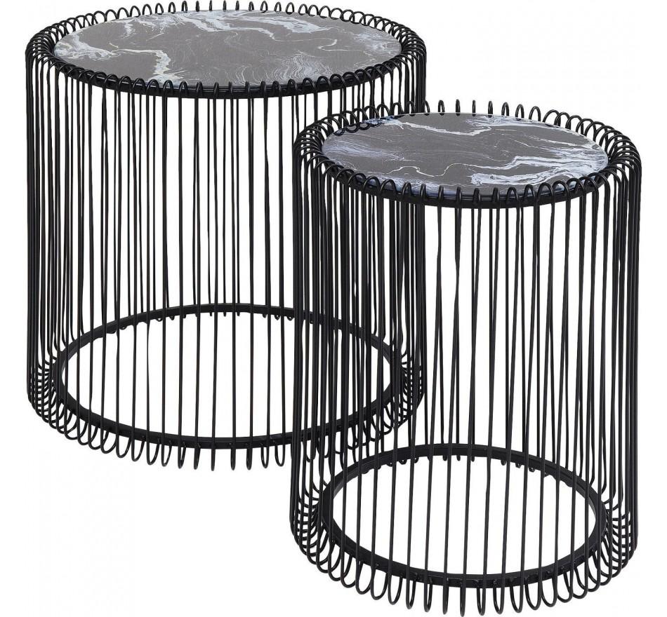 Tables d'appoint Wire noires marbre set de 2 Kare Design