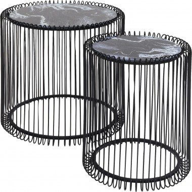 Tables d'appoint Wire noires marbre set de 2 Kare Design
