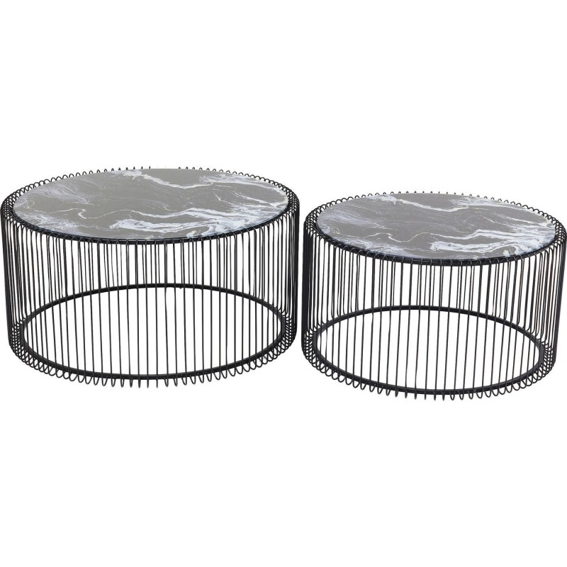 Tables basses rondes Wire marbre noir set de 2 Kare Design
