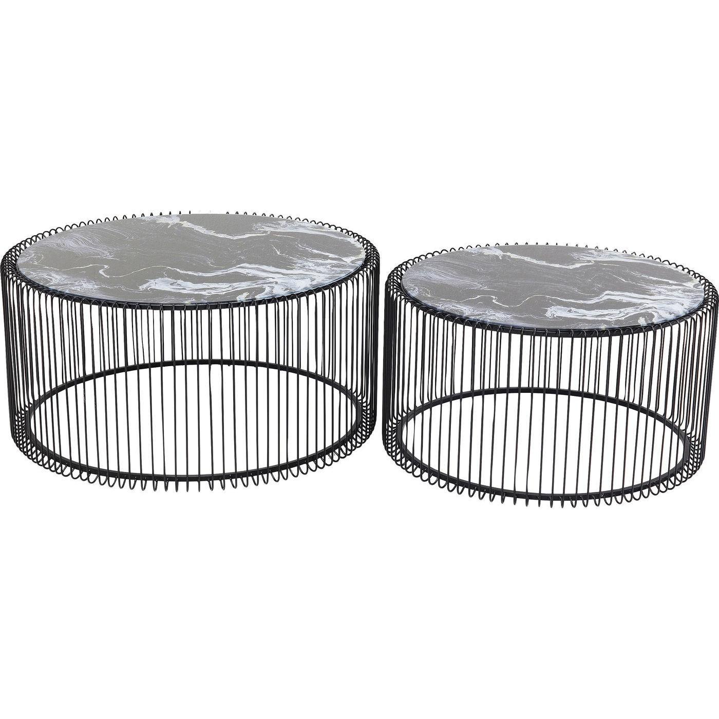 Tables basses rondes Wire noires effet marbre set de 2 Kare Design