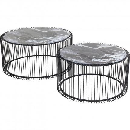 Tables basses rondes Wire noires marbre set de 2 Kare Design