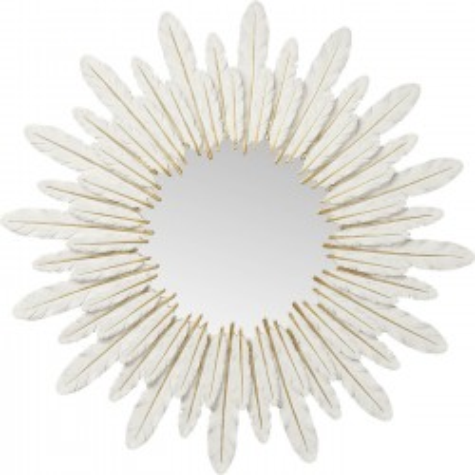 Miroir plumes blanches 57cm Kare Design