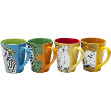 Mugs animaux de la savane set de 4 Kare Design