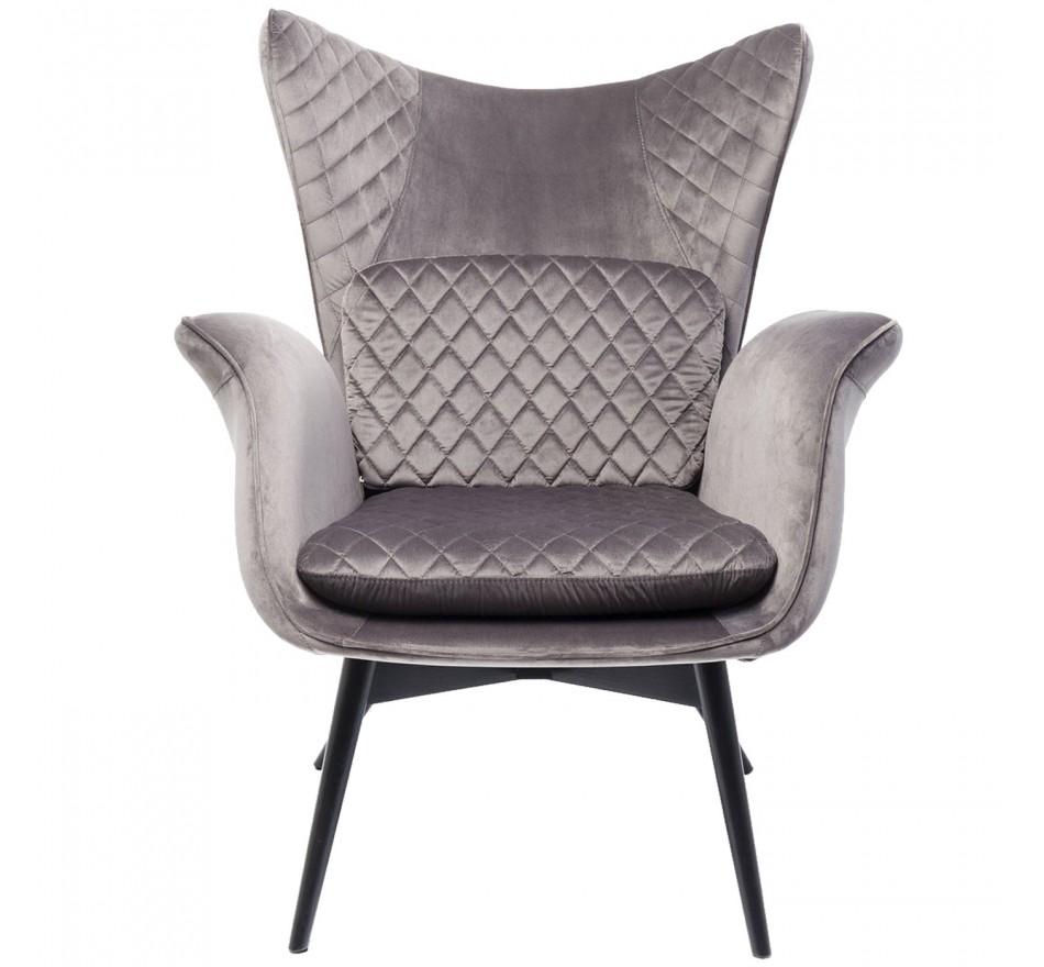 Fauteuil Tudor velours gris Kare Design