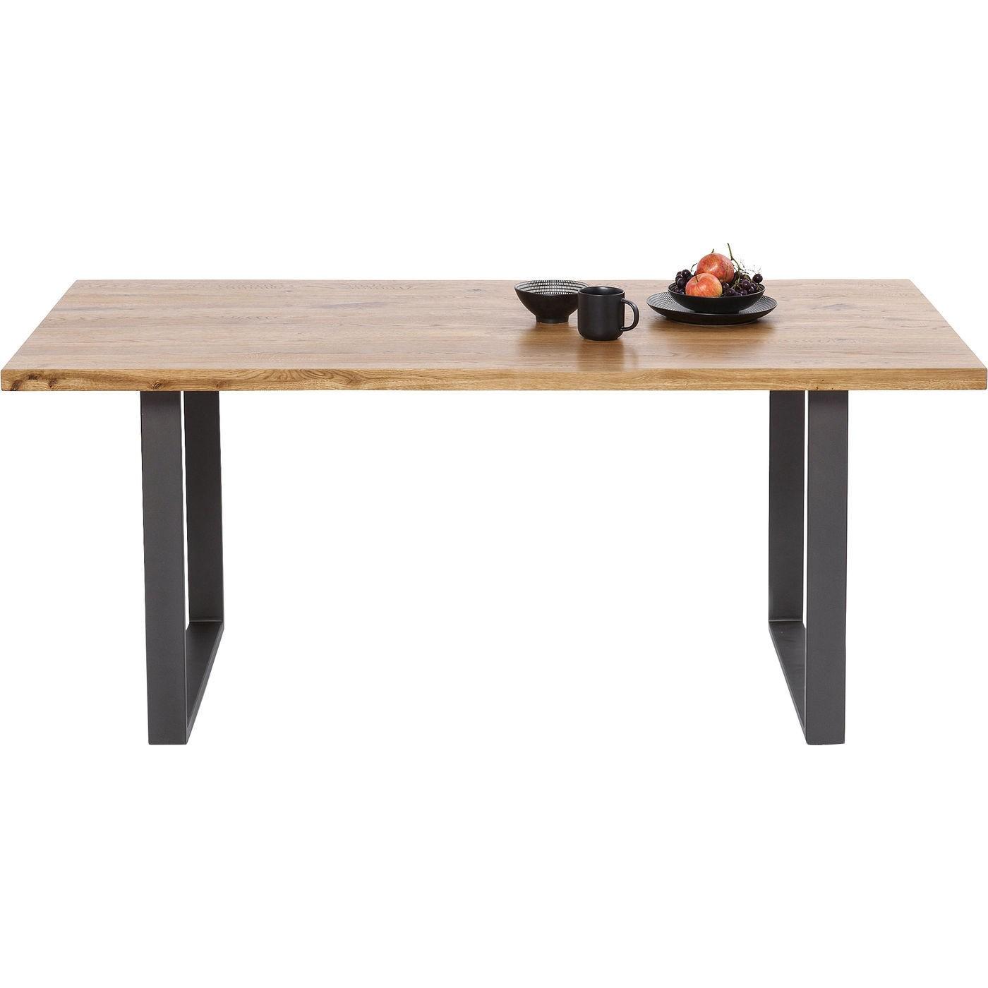 Table Jackie chêne acier 180x90cm Kare Design