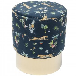 Tabouret Cherry Jungle bleu léopards et laiton Kare Design