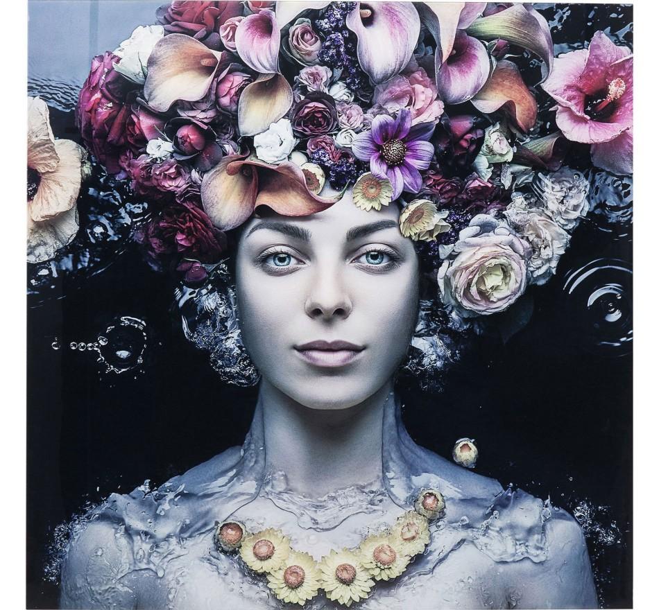 Tableau en verre Flower Art Lady 80x80cm Kare Design