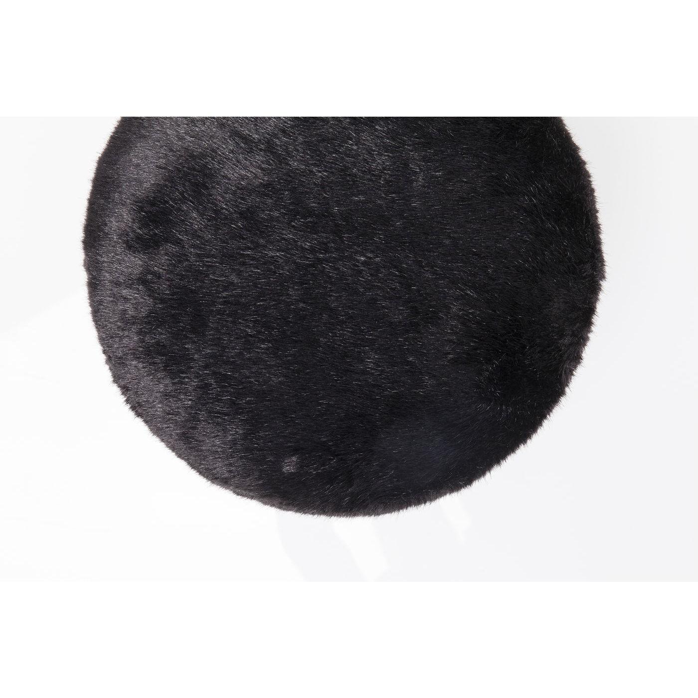 Tabouret Cherry 35cm fourrure noire laiton Kare Design